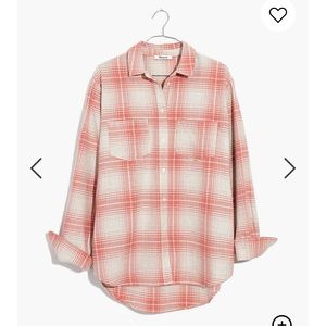 Madewell Flannel Sunday Shirt in Pink Plaid